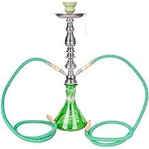 DXP Shisha Hookah 53 cm 2 Manguera Cachimba Narguile agua tubo vidrio fumar verde JYH01