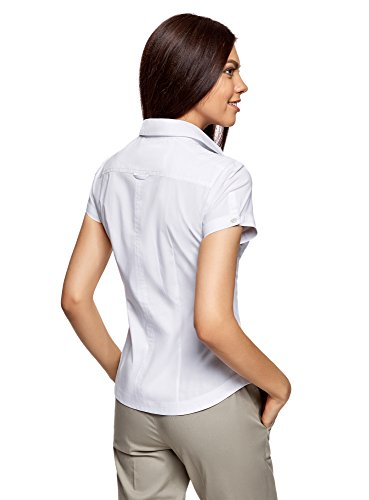 oodji Ultra Donna Camicia Basic con Maniche Corte Bianco (1000N)