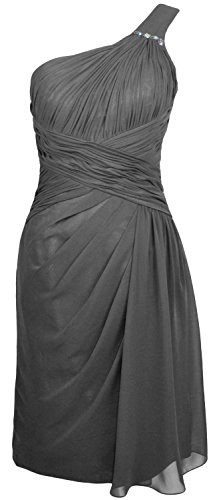 MACloth Women One Shoulder Short Draped Bridesmaid Dress Cocktail Party Gown gray