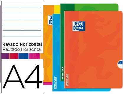 Price comparison product image Oxford Book School OpenFlex Flexible Cover Optik Paper 48Sheets DIN A4Ruled Horizontal Assorted Colours (Pack of 10)