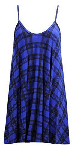 Nuova da donna senza maniche stampa Cami Strappy Swing vestito lungo canotte Blue Tartan