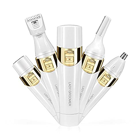 4 in 1 Women's Painless Hair Remover Bestidy Professional Ladies Hair Shaver Electric Shaver Device Kit - Eyebrow Shaping Body Shaver Nose Trimmer Facial Shaver