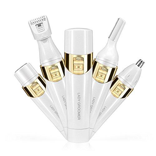 4 in 1 Frauen Schmerzloses Haar Remover Bestidy Professionelle Damen Haarrasierer Elektrische Rasierer Gerät Kit - Augenbrauen Shaping Body Rasierer Nase Trimmer Facial Shaver