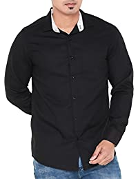 [Sponsored]Twist Mens Semi-Casual Slim Fit Shirt/Long Sleeve Cotton Shirts/Full Sleeve Shirts/Plain Dress Shirts, Black,