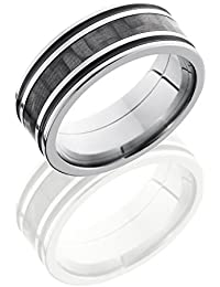Titanium, Carbon Fiber Inlay Antique Grooved Wedding Band (sz H to Z1)