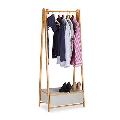 Relaxdays Garderobenständer Bambus Kleiderständer mit Stauraum