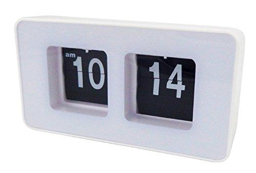 Flip Clock Klappzahlenuhr Retro Nostalgie Design Uhr XXL Anzeige Farbwahl (Weiß)