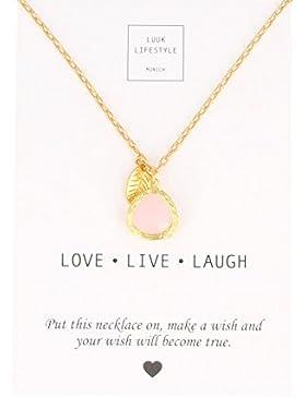 LUUK LIFESTYLE Damen Schmuck, Geschenkkarte, Halskette mit rosa Stein in goldener Fassung und goldenen Blatt,...