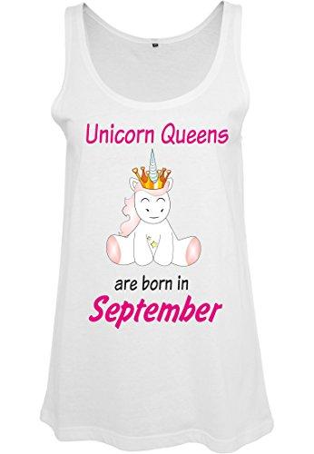 Ladies Damen Top Tanktop Sommertop Damentop Einhorn Unicorn Queens are born Weiß September