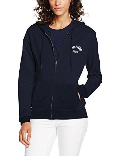 Tommy Hilfiger Damen Kapuzenpullover Zip Thru Hoody, Blau (Navy Blazer-PT 416), 36 (Herstellergröße: SM)