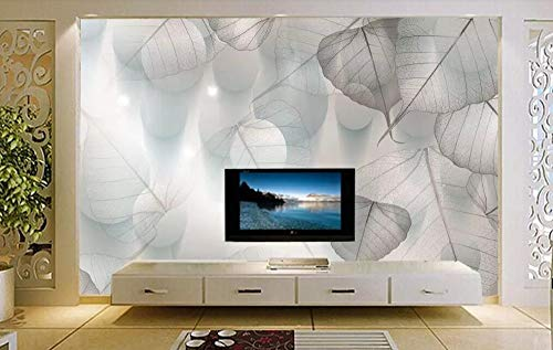 Minyose Custom wallpaper mural modern elegant European dream 3D leaves silhouette dot background wall 3D wallpaper for walls-140cmx100cm -