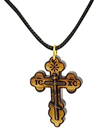 AUTHENTIC Christian Jewellery from Bethlehem Olive Wood Eastern Cross Necklace - Men & Women