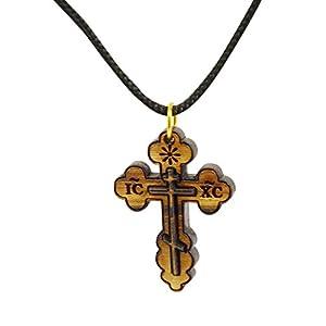 Authentischer Christen-Schmuck aus Bethlehem, Halskette mit Kreuz des Orthodoxen Christentums aus Olivenholz