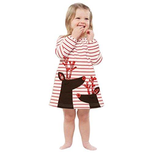 OverDose Kleinkind Kinder Baby Mädchen Christmas Deer Santa Striped A-Linie Prinzessin Kleid Weihnachten Outfits Kleidung(1T,A-Weiß) (Knie-länge-cap)