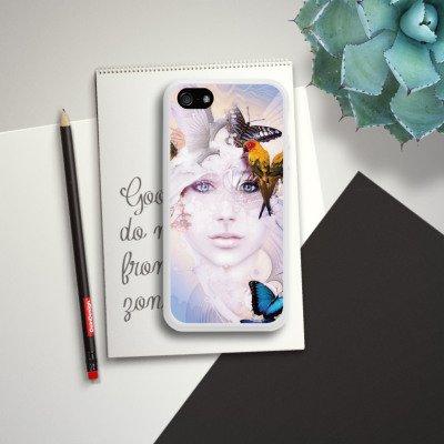 Apple iPhone 4 Housse Étui Silicone Coque Protection Oiseaux Femme Femme Housse en silicone blanc