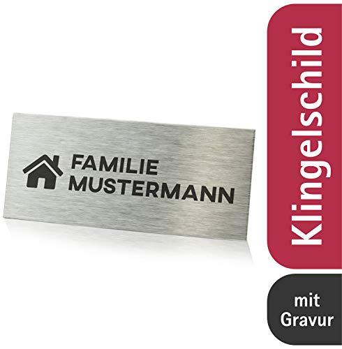 Edelstahl Türschild mit individueller Gravur 8,9x3,0cm / Namensschild wahlweise selbstklebend/Klingelschild mit Namen für die Haustür - Keine Werbung Aufkleber/Edelstahlschilder