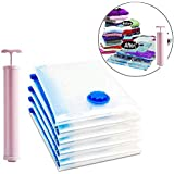 Vacuum Storage Reusable Ziplock Space Saver Bags (Pack of 5) 2 Small (40 cm x 60 cm), 2 Medium (50 cm x 70 cm),1 Large (60 cm x 80 cm) with Hand Pump for Travel Save 80% More Storage Space for Clothes