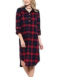 ACHIOOWA Hemd Kariert Damen Langarm Oversize Hemd Button Down Longshirt  Cardigan Top e153ad96fa