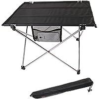 Mesa de camping plegable ultra-ligera, aleación de aluminio, portátil para barbacoa / camping / picnic / viaje / pesca, aluminio, plateado, talla única