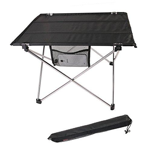 Aidoxi Table de Camping, Ultra-léger Table Pliable Compact au Rangement, Assemblage Rapide et Facile, Alliage D'aluminium De Haute Qualité (Silver)