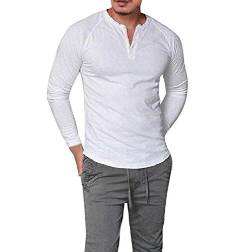Herren Langarmshirts,Frashing Mode Herren Slim Fit V-Ausschnitt Langarm Muscle T-Shirt Casual Tops Bluse Button Langarm Shirt Basic Longsleeve Shirt Sweatshirt Einfarbig (S, Weiß) (T-shirt Mode Langarm Männer)