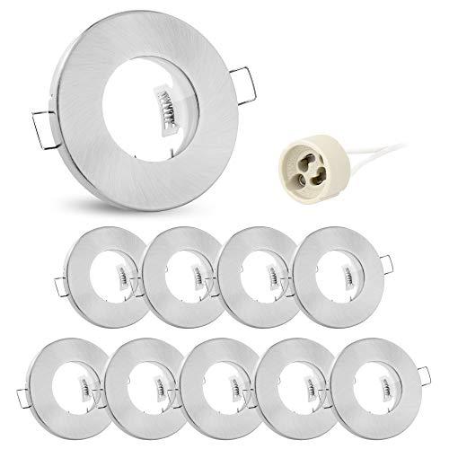 10x linovum® Feuchtraum Einbaustrahler Rahmen flach IP65 - Einbaurahmen für Bad, Dusche in gebürstet rund inkl. GU10 Fassung