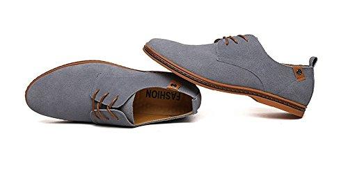 Wealsex Chaussures de ville à Lacet Chaussure Basse Cuir Suédé Casual Homme Gris