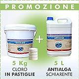 PISCINE ITALIA Cloro in pastiglie 200 g 5 kg + 5 L antialga