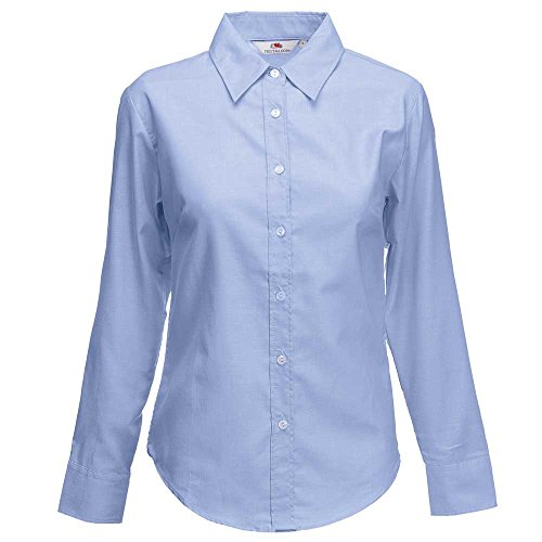 Fruit of the Loom Lady-Fit Long Sleeve Oxford Shirt Oxford Blue