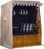 Exquisit Strandkorb-Schutzhülle Schutzhaube Abdeckung aus witterungsbeständigem 600d Oxford Gewebe | Farbe: beige | Winterfest - Atmungsaktiv | Größe M - ca. 120 cm x 150 cm x 85 cm (B x H x T)