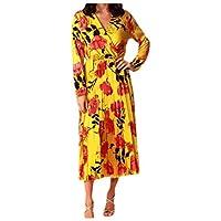 فستان DressU نسائي ذو رقبة على شكل حرف V وأكمام طويلة ضيق ومريح بطول كامل اصفر US M=China L