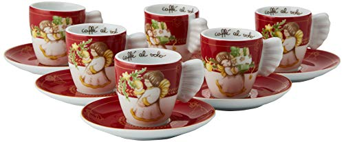 THUN Set 6 Tazzine caffè-Linea Dolce Natale-Porcellana-100 ml-Ø 6 cm