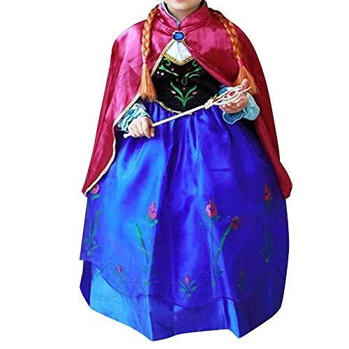 Canberries® Prinzessin Kostüm Kinder Glanz Kleid Mädchen Weihnachten Verkleidung Karneval Party Halloween Fest (140, #08 Kleid) (Olaf Kostüm Teenager)