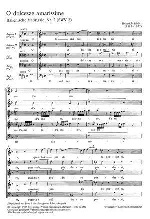 Schütz: O dolcezze amarissime (O bitterste Süßigkeiten der Liebe) (SWV 2 (op. 1 no. 2)). Partitur (20 St.)