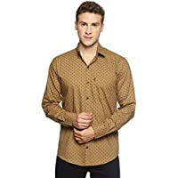 LEVIZO Men's 100% Cotton Designer Printed Full Sleeves Regular Fit Shirt Beige Size L