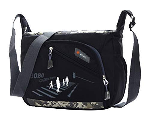 (QHorse Jungs Umhängetasche Studenten Schule Schulranzen Wasserfest Lässig Messenger Bag Sportliche Klein Fitness-Tasche (Schwarz))