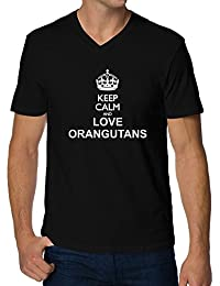 Teeburon Keep calm and love Orangutans V-Ausschnitt T-Shirt