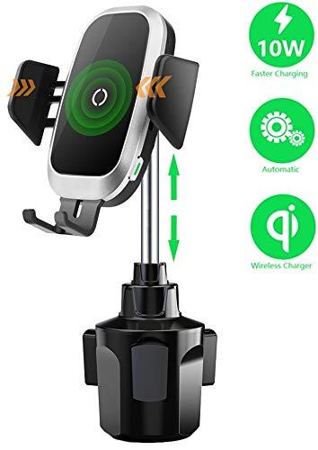 Caricatore Wireless Auto Qi, Rapida Wireless da Auto Vento Supporto Telefono, Supporto per Tazza Regolabile per Sensore Automatico Ricarica Rapida Compatibile con iPhone 8 X XR XS Samsung S9 Note8