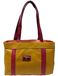 Women's Handbag - Stylish Casual Rexine, Leatherette Handbag (Pink & Yellow)