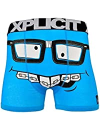 Xplicit Men's Funny Rude Nerd Geek Cartoon Novelty Boxer Shorts Trunks Malibu