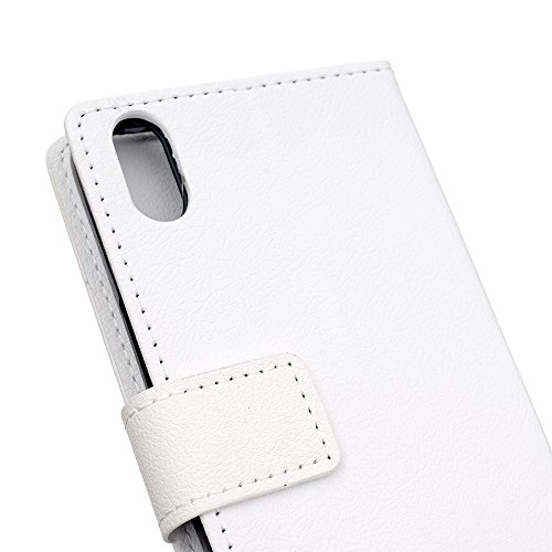 CaseforYou Hülle iphone X Schutz Gehäuse Hülse PU Leather Wallet Case with Flip Stand Function and Card Slots Magnetic Closure Cover Schutzhülle für iphone X Handy (White) White