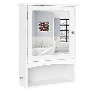 VASAGLE Spiegelschrank, Wandschrank verstellbarem Einlegeboden, Medizinschrank im Landhausstil, Badschrank aus Holz…