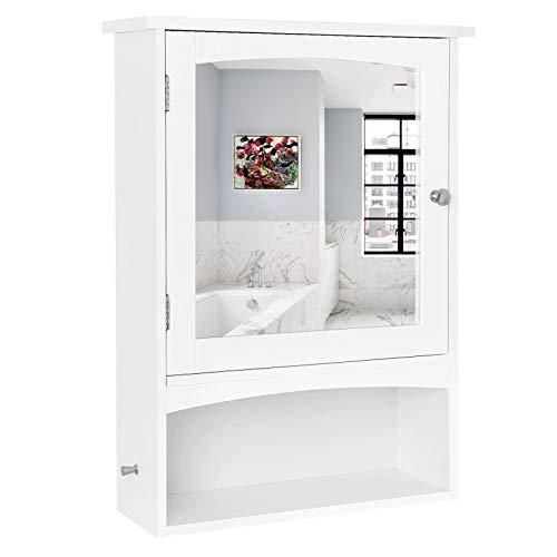 VASAGLE Spiegelschrank, Wandschrank verstellbarem Einlegeboden, Medizinschrank im Landhausstil, Badschrank aus Holz, weiß, 48 x 65 x 16 cm (B x H x T), BBC21WT