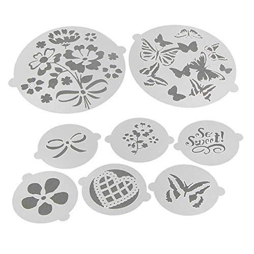 8PCS Lace torte stencil set, Flower Heart fondant cake stencil, stencil cake Craft, cake Border stencil set, decorazione torta stencil...