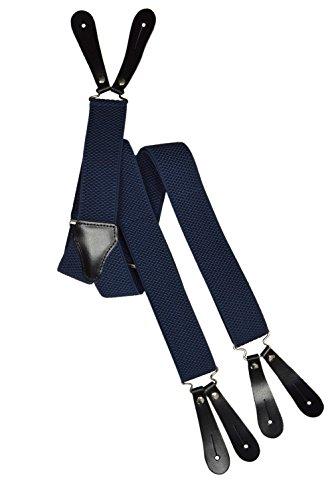 Olata unisex bretelle regolabili con 2 pezzi vera pelle asole, 3.5cm larghezza. blu scuro