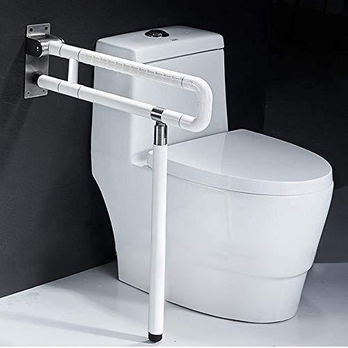 QGQG Faltbar Sicherheitsgestelle Für Toiletten, Toilettenstützgestell WC Stützhilfe Geländer Handlauf Für Senioren, Behinderte Und Behinderte, Freistehende 75Cm,Weiß