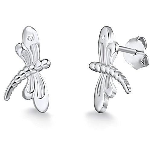 Rafaela Donata - Orecchini a perno a forma di libellula - Argento Sterling 925 con (Diamante Forma 925 Orecchini D'argento)
