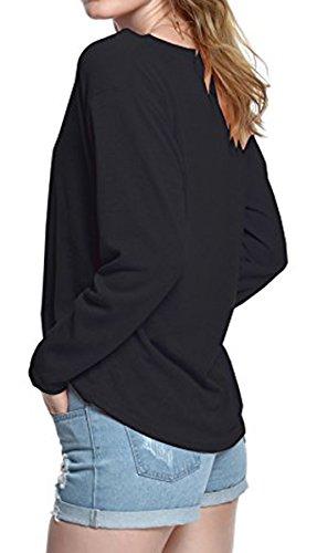 BLACKMYTH Donna Casual Pullovers V-collo Maglia Maglietta Loose Tinta Unita T Shirt Tops Nero