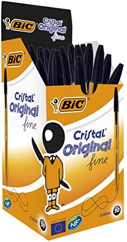 BIC Cristal Original Fine - Caja de 50 unidades, bolígrafos punta fina (0,8 mm), color negro