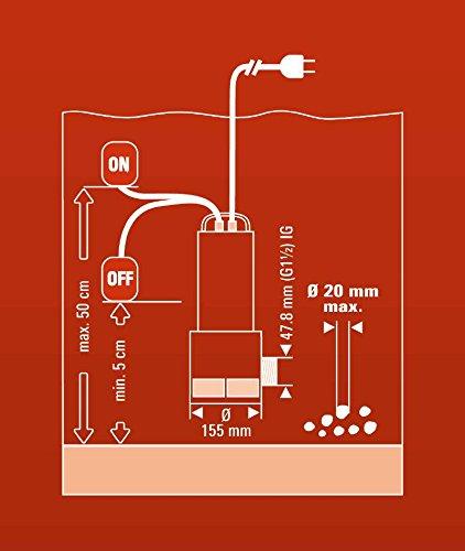 Einhell Schmutzwasserpumpe GC-DP 1020 N (1000 W, max. 18000 l/h, max. Förderhöhe 9 m, Fremdkörper bis 20 mm, Edelstahl) - 10